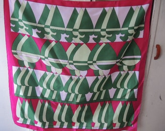 Vintage 1960s acetate scarf abstract spades greens and pinks 26 x 26 inches