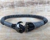 Men's Leather Wrap Bracelet, Men's Black Bracelet, Anchor Bracelet, Gray and Black Bracelet, Genuine Leather Bracelet, Boyfriend Gift
