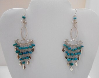 """Vintage Teal Chandelier Dangle Pierced Earrings (7044) 4"""" Long"""