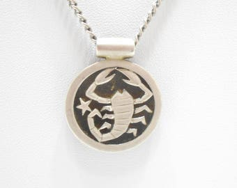 Vintage Sarah Coventry, The Crab, Cancer Zodiac Sign Pendant Necklace (8324)