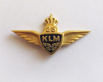 Vintage 14K Gold Airline Wings Lapel Pin Tie Tack - KLM Royal Dutch Airlines 25 Years Award Pin - Netherlands Oak Leaf 585 Hallmark