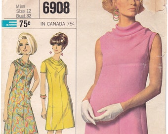 "1960s A-line Dress with Cowl Neckline, Designer Fashion Retro MOD Dress [Simplicity 6908] Size 12, Bust 32"", Complete Cut"