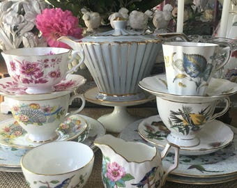 English Mismatched Tea Set for 4 Sadler Teapot With Aynsley Royal Albert and others 16 pieces