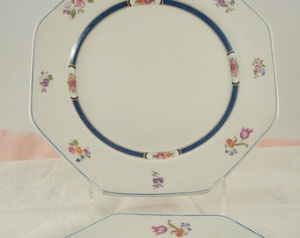 Antique Dinner Plates Vintage Wedding John Maddock & Son England Royal Vitreous Blue and Ivory Floral Octagonal Plates Set of 2 Rare 1800s