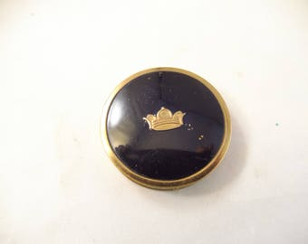 Tussy Rouge Compact, Black Cover, Crown on Front, Gold Tone Metal