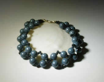 Large Gray Bracelet, Fits 9 Inch Wrist