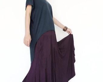 NO.151 Blue Rayon Fashion Cape Sleeve Hi-Low T-shirt