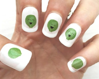 Brussels Sprout Nail Transfers - Brussels Sprout Transfers - Sprout Nail Transfers - Sprout Transfers - Brussels Sprout Nail Art - Cute