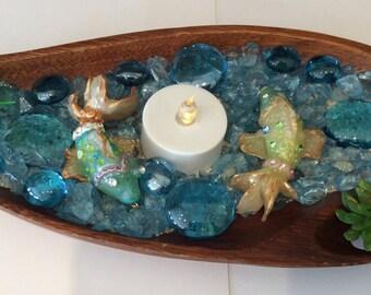 Zen garden,Koi fish sensory box,sand box,handmade polymer clay rock pond,Fairy garden accessories. Koi fish pond,peace pond,