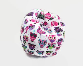 "Pink and Purple Owls Doll Furniture - Bean Bag Chair Made to Fit 14"" and 18"" Dolls Like Wellie Doll Furniture and AG Doll Furniture"