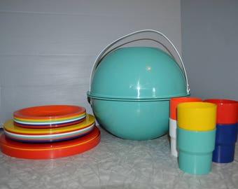 Ingrid Turquoise Picnic Set ~ Vintage Picnic Basket ~ Vintage RV ~ Epsteam