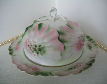 RS PRUSSIA Vintage Porcelain Covered Butter Dish White Pink Green Sunflower Mold Mark 3 Wedding Gift