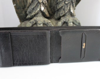 NOS unused Mens Vintage Black Leather Wallet Billfold-Buffalo Calf Leather really UNIQUE