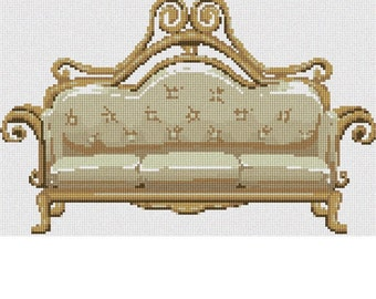 Needlepoint Kit or Canvas: Beige Couch