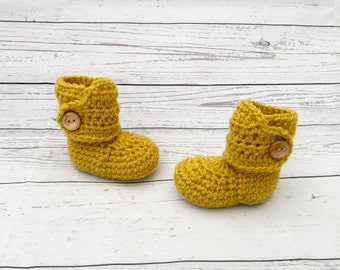 baby booties | gender neutral baby boots | crochet baby shoes | mustard yellow baby bootees | newborn gift | baby announcement