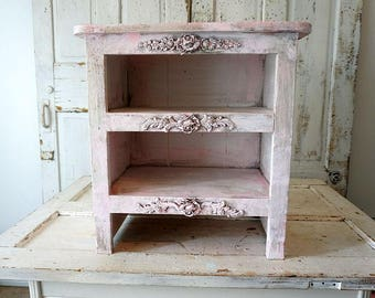 Shabby cottage chic nightstand pink distressed small book shelf table embellished ornate farmhouse furniture home decor anita spero design