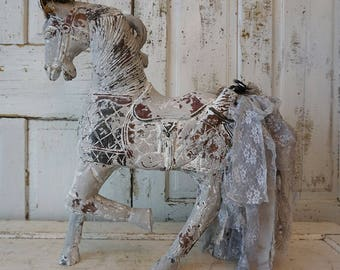 French farmhouse horse statue distressed painted Nordic gray carved wood figure statuary ornate crown tattered tail decor anita spero design