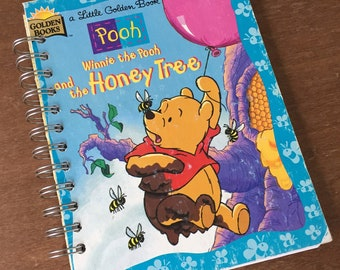 Vintage Winnie the Pooh and the Honey Tree Little Golden Book Recycled Journal Notebook