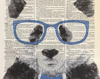Panda Bear Humor Panda Humor Art Print, Watercolor Digital Print, Panda Bear Wearing Glasses, Blue Color Art, Mixed Media Art