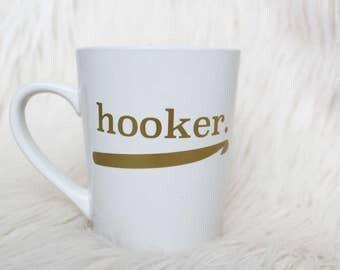 """Crochet """"Hooker"""" Mug // Ceramic // Punny // White // Gold // The Hook Nook"""