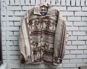Vintage ECUADORIAN Artesian Tamia Wool Jacket South America Ecuador Vtg Thick Warm Outdoor Hiking Winter Clothing