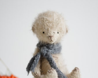 Made To Order Mohair Teddy Bear Knitted Scarf 7 Inches Stuffed Animal Handmade Toy Artist Teddy Bear Soft Toys Christmas Gift For Her