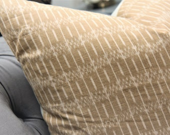 Sand and Off White Ikat Pillow Cover - Tan Modern Pillow Cover - Neutral Home Decor - Motif Pillows