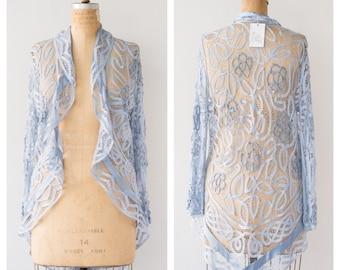 LAYAWAY FOR MELISSA / Vintage 1970s Azure Blue Tape Lace Jacket / Lace Jacket Topper Light Blue Crochet Boho Bohemian Romantic / M Medium