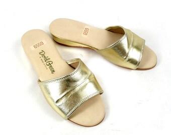 Vintage 60s Daniel Green Mod Gold Metallic Slides Wedge Sandals 8 D