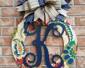 Mother's Day Gift Front Door Wreath Monogrammed Wreath Wood Wreath Housewarming Gift Home Decor Wedding Gift Wall Decor Front Door Hanger
