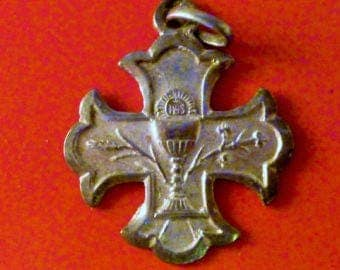 French Vintage Solid silver communion medal Cross Religious medal wheat  chalice  Pendant Charm jewelry  5/FV5