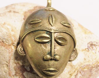 African Brass Mask for Jewelry Making 76X54 mm, Ethnic Pendant, Face Pendant (AJ193)