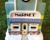 Hand Painted House, Market, Christmas Village House, Ceramic House, Holiday Tea Light House, Collectible House, Vintage