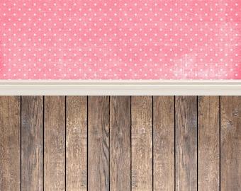 Pink Polka Dot Wall and Wood - Vinyl Photography  Backdrop Photo Prop