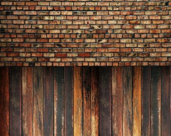 Warm Raggedy Brick and Vintage Oak - Vinyl Photography  Backdrop Photo Prop