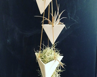 Hanging Pyramid Planter Modern Mid Century Home Decor IN STOCK