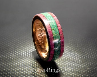 Unique wedding rings Connemara marble and exotic purple heart wood