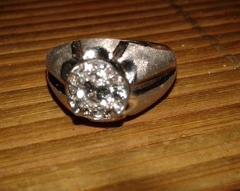 Men's Ring 14 karat White Gold Ring Size 10 Vintage