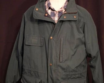 SALE Eddie Bauer Vintage coat hunter Green  , SIZE XL, lined with wool ,zipper and snap closure, draw waist, several pockets