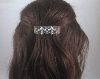 Fleur De Lis and Crest French Barrette- 70mm- Hair Accessories- Game of Thrones- Hair Clips-