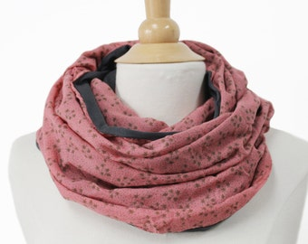 large infinity scarf salmon red snood with stars -flowers loop circle shawl flowerd Jersey handmade fabric