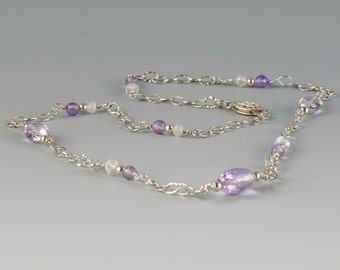 Quality Faceted Pink Rose d'France Amethyst Gemstone Necklace with Moonstones and 925 Sterling Silver Chain and Filigree Clasp, Handmade