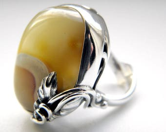 Baltic amber sterling silver ring  - adjustable