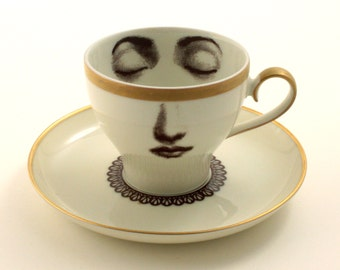 Altered Face Vintage Cup Porcelain Coffee Espresso Lace Collar Saucer Lina Cavalieri Geekery Vintage Romantic Gold Rim Whimsical