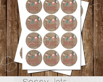 GIRL 2 inch Favor Tags - Cupcake Toppers - Decorations - Fisherman - o-FISH-al Thank you - REEL excited