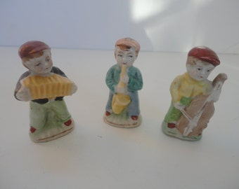 Vintage Trio Bisque Musicians, Bisque Violinist, Bisque Saxophone, Bisque Accordion, Miniature Musicians, Accordion Player, Violinist, Music