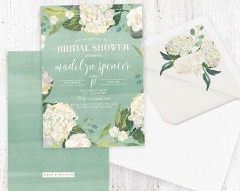 watercolor floral bridal shower invitation hydrangea bridal shower invite boho chic bridal shower invite