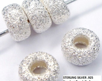 10 STERLING SILVER Stardust Rondelle Spacer (4.3mm by 3mm with 1.4mm hole)