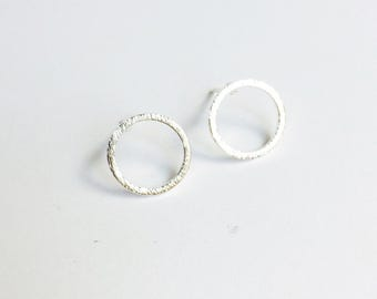 Brushed silver circle minimalist stud post earrings