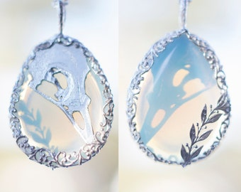 Raven Skull and Leaves Opalite Pendant  ~ 925 Sterling Silver ~ Swirly Filigree Crow Leaf Leaves Foliage Silver Alternative Moonstone Opal